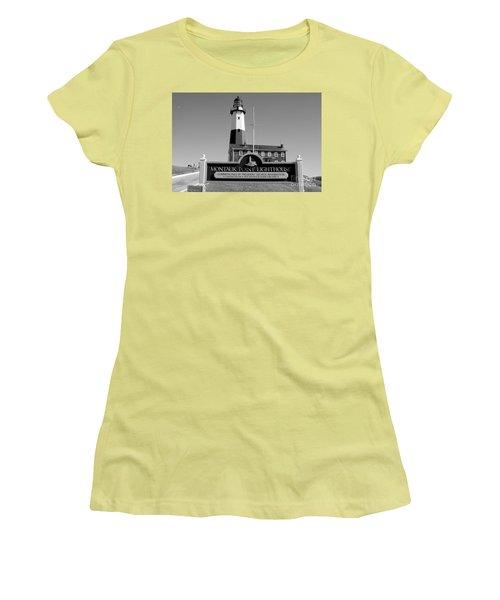 Vintage Looking Montauk Lighthouse Women's T-Shirt (Junior Cut) by John Telfer