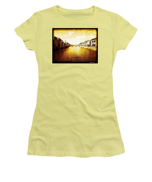 Vintage View Of River Arno Women's T-Shirt (Athletic Fit)