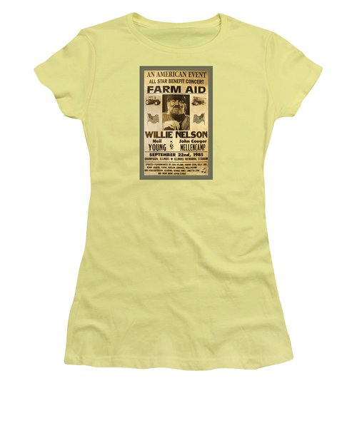 Vintage Willie Nelson 1985 Farm Aid Poster Women's T-Shirt (Junior Cut) by John Stephens