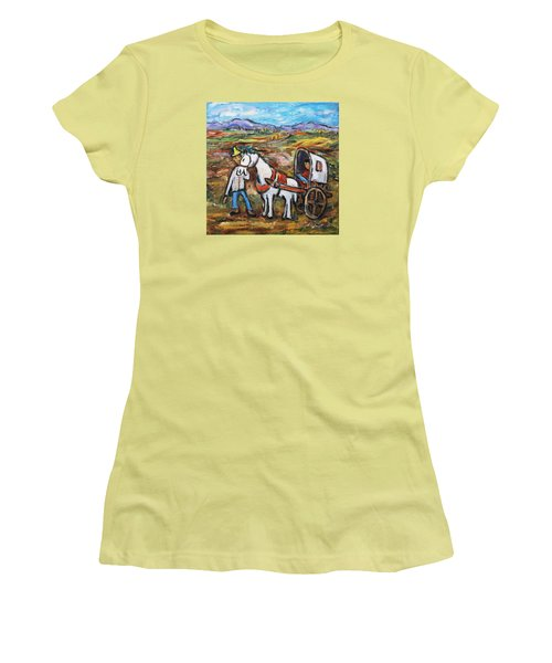 Women's T-Shirt (Junior Cut) featuring the painting Visit The In-laws by Xueling Zou