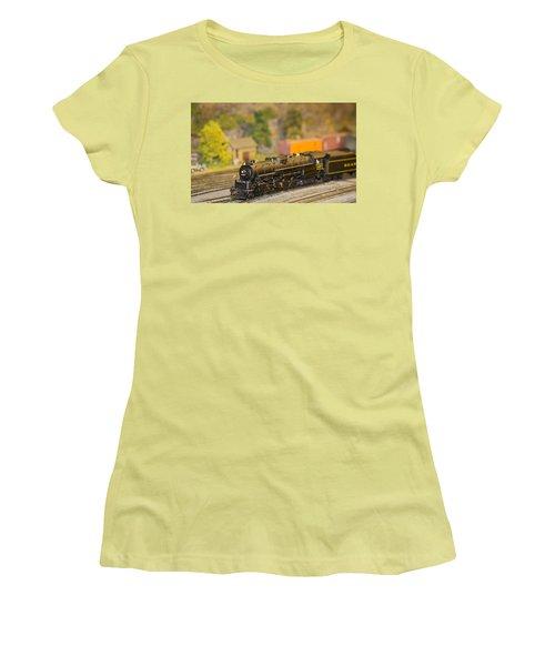 Women's T-Shirt (Junior Cut) featuring the photograph Waiting Model Train  by Patrice Zinck