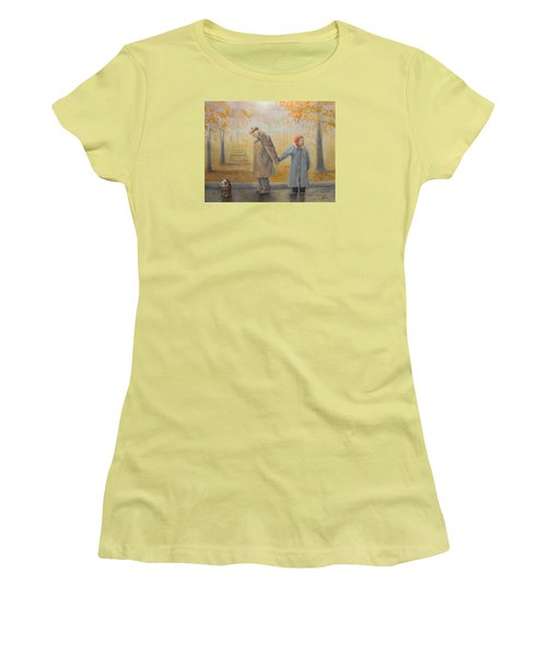 Women's T-Shirt (Junior Cut) featuring the painting Walking Miss Daisy by Donna Tucker