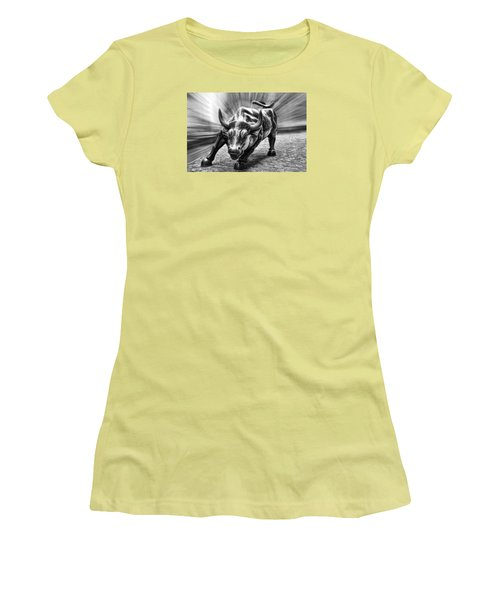 Wall Street Bull Black And White Women's T-Shirt (Junior Cut) by Wes and Dotty Weber