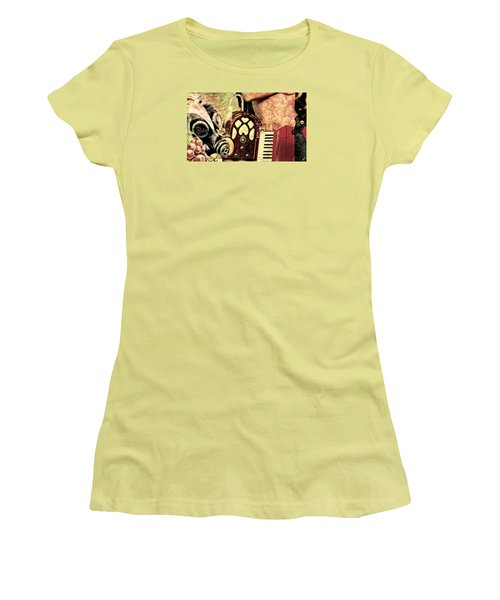 Women's T-Shirt (Junior Cut) featuring the mixed media War Dreams by Ally  White