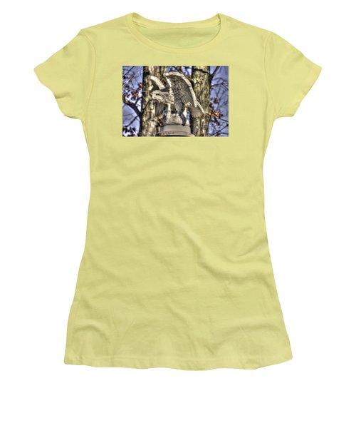Women's T-Shirt (Junior Cut) featuring the photograph War Eagles - Vermont Company F 1st U. S. Sharpshooters-a1 Pitzer Woods Gettysburg by Michael Mazaika