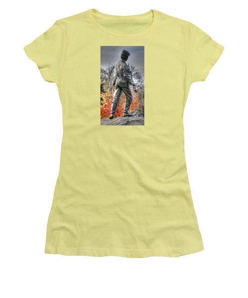 Women's T-Shirt (Junior Cut) featuring the photograph War Fighters - 26th Pennsylvania Emergency Militia Infantry-b1 Defending The Town Of Gettysburg by Michael Mazaika