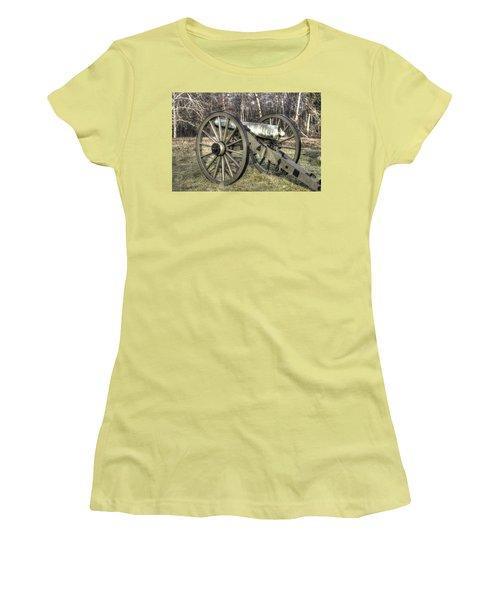 Women's T-Shirt (Junior Cut) featuring the photograph War Thunder - 1st New York Light Artillery-c1 Battery D The Wheatfield Late Winter Gettysburg by Michael Mazaika