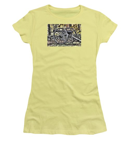 Women's T-Shirt (Junior Cut) featuring the photograph War Thunder - The Albemarle Va Artillery Wyatt's Battery-b1 West Confederate Ave Gettysburg by Michael Mazaika