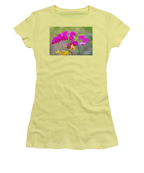 Women's T-Shirt (Junior Cut) featuring the photograph Warbler Posing In Orchids by Luana K Perez