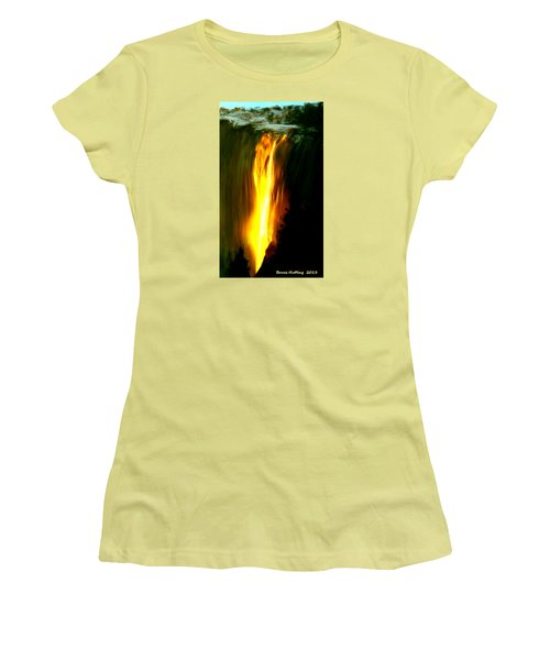 Women's T-Shirt (Junior Cut) featuring the painting Waterfalls By Light by Bruce Nutting