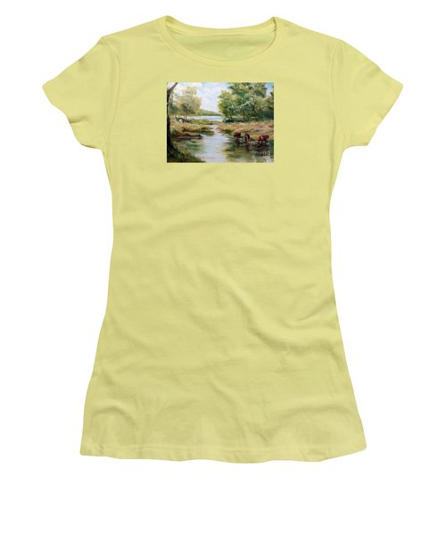 Women's T-Shirt (Junior Cut) featuring the painting Waterloo by Lee Piper