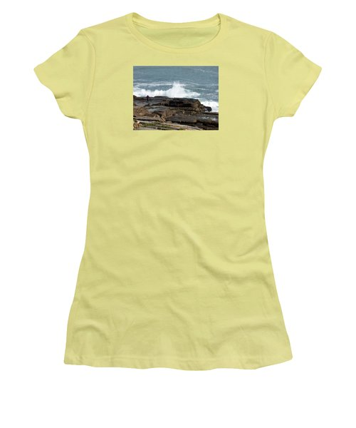 Wave Hitting Rock Women's T-Shirt (Junior Cut) by Catherine Gagne