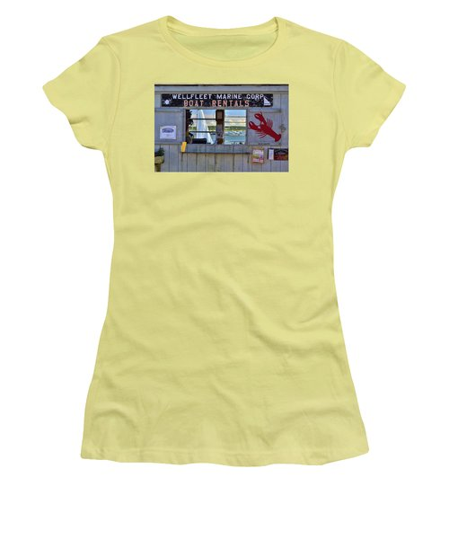 Wellfleet Harbor Thru The Window Women's T-Shirt (Junior Cut) by Allen Beatty