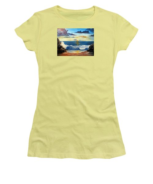 Women's T-Shirt (Junior Cut) featuring the painting West Coast Sunset by Lee Piper