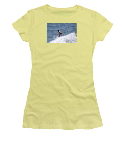Women's T-Shirt (Junior Cut) featuring the photograph West Coast Surfer Girl by Duncan Selby