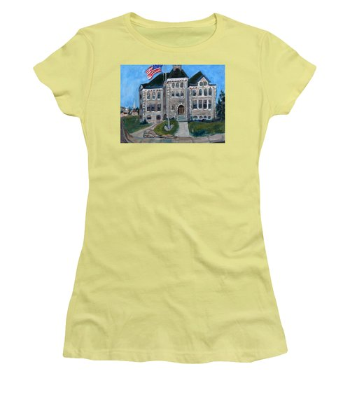 Women's T-Shirt (Junior Cut) featuring the painting West Hill School In Canajoharie New York by Betty Pieper