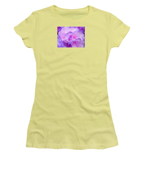 Wet Rose In Pink And Violet Women's T-Shirt (Junior Cut) by Nareeta Martin