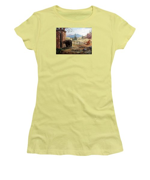 Women's T-Shirt (Junior Cut) featuring the painting What Now by Lee Piper