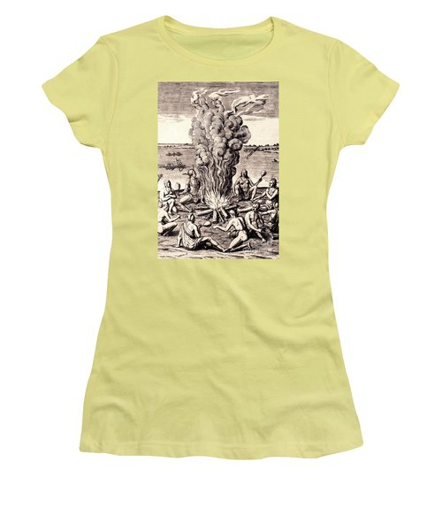 When They Returned From The War They Make Merry About The Fire Women's T-Shirt (Junior Cut) by Peter Gumaer Ogden