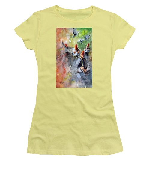 Women's T-Shirt (Junior Cut) featuring the painting Whirling Dervishes And Pigeons         by Faruk Koksal
