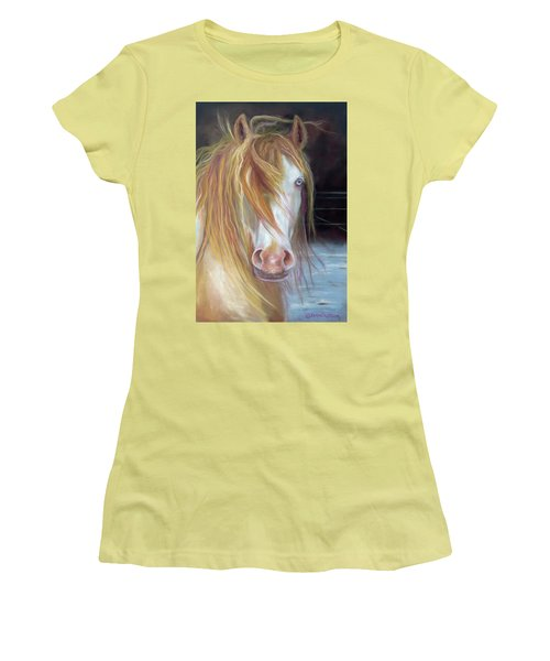 Women's T-Shirt (Junior Cut) featuring the painting White Chocolate Stallion by Karen Kennedy Chatham