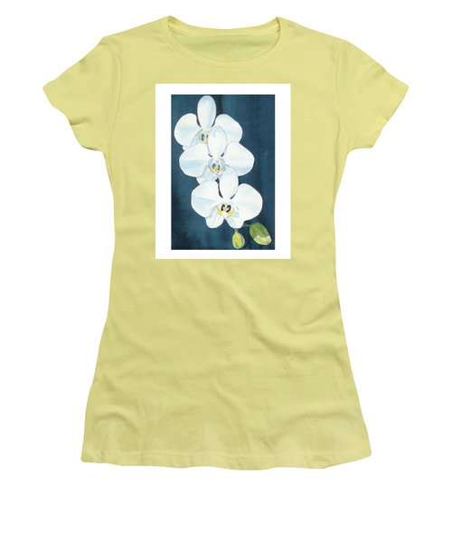 Women's T-Shirt (Junior Cut) featuring the painting White Orchids by C Sitton