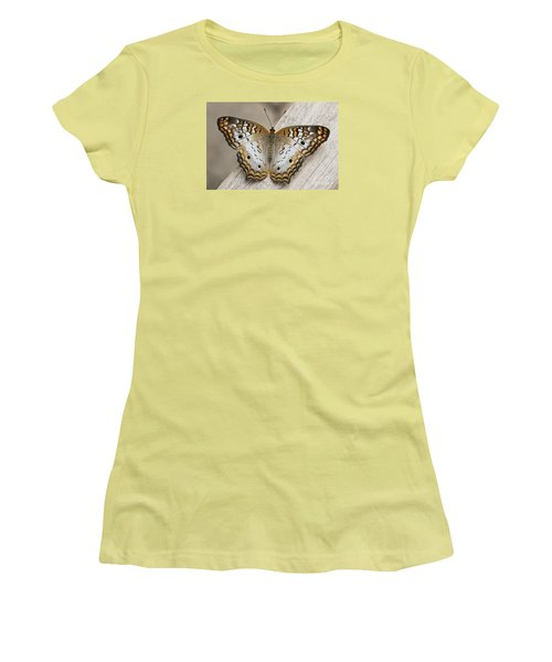 White Peacock Butterfly Women's T-Shirt (Junior Cut) by Judy Whitton
