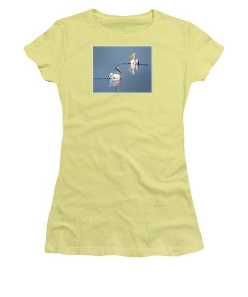 White Pelicans Women's T-Shirt (Junior Cut) by Patti Deters