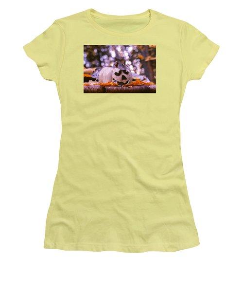 White Pumpkin Women's T-Shirt (Junior Cut) by Aaron Aldrich