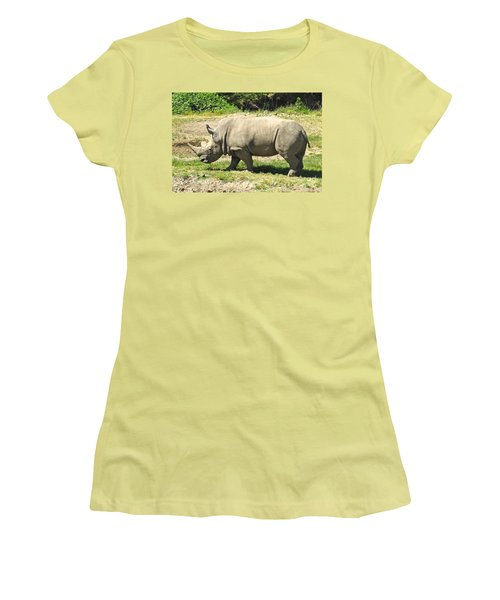 White Rhinoceros Grazing Women's T-Shirt (Junior Cut) by CML Brown