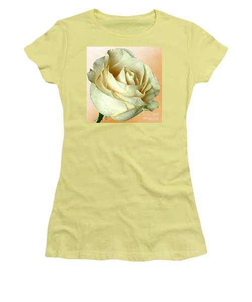 Women's T-Shirt (Junior Cut) featuring the photograph White Rose On Sepia by Nina Silver
