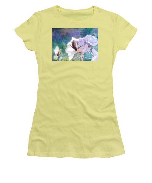 Women's T-Shirt (Junior Cut) featuring the painting White Roses In The Shade by Greta Corens