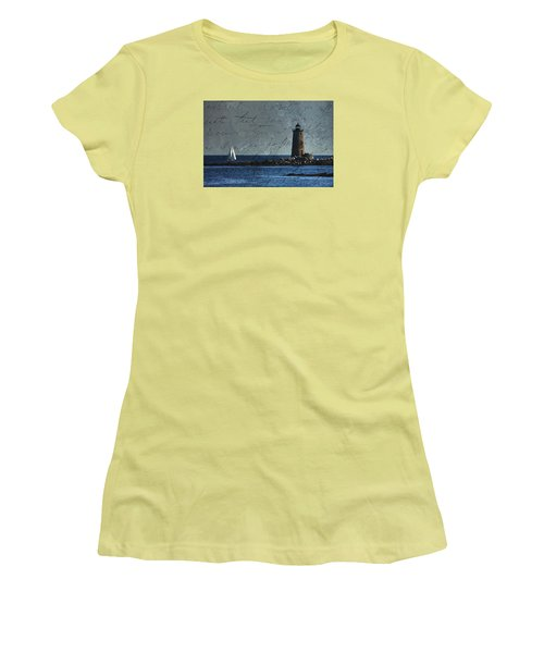 Women's T-Shirt (Junior Cut) featuring the photograph White Sails On Blue  by Jeff Folger