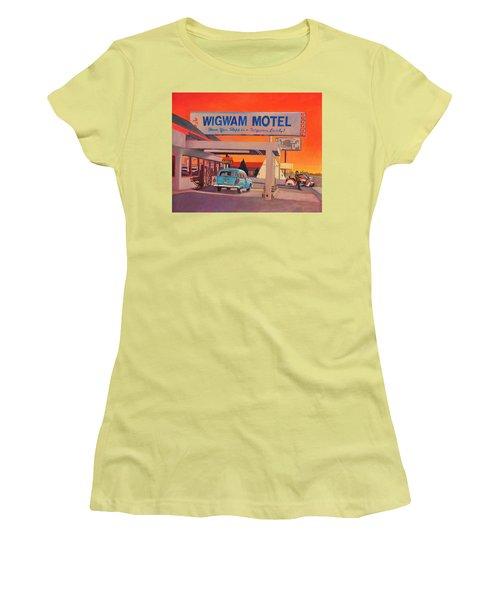 Women's T-Shirt (Junior Cut) featuring the painting Wigwam Motel by Art James West