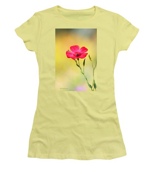 Women's T-Shirt (Junior Cut) featuring the photograph Wild Red Flower by Tom Janca
