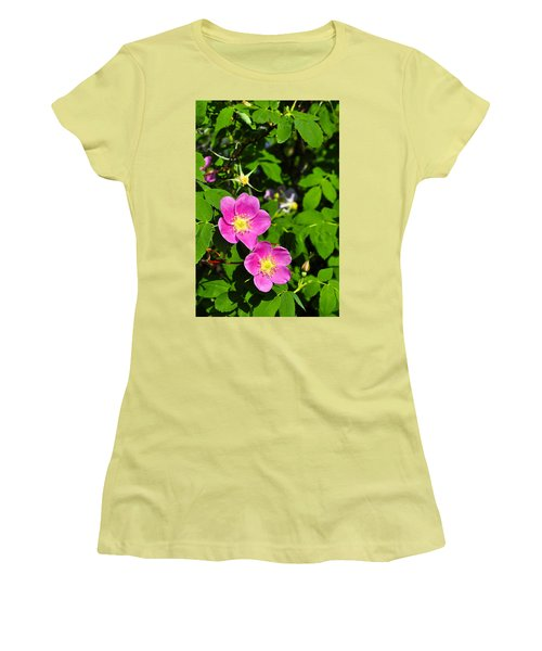 Women's T-Shirt (Junior Cut) featuring the photograph Wild Roses by Cathy Mahnke