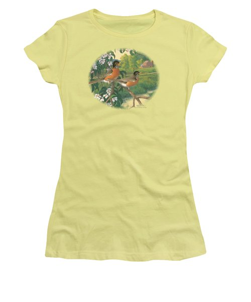 Wildlife - Apple Blossom Time Robins Women's T-Shirt (Athletic Fit)