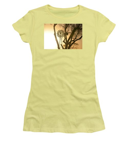 Women's T-Shirt (Junior Cut) featuring the photograph Spinning In The Sundown by Clarice  Lakota