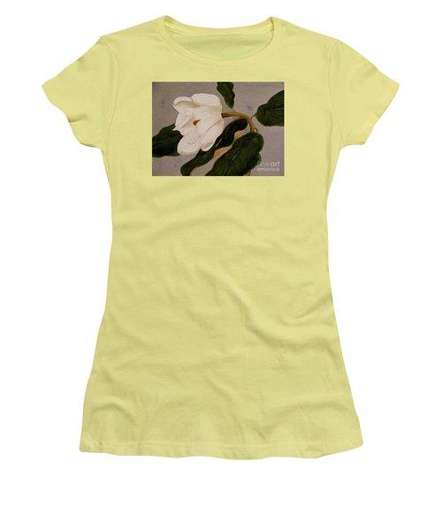 Windblown Magnolia Women's T-Shirt (Junior Cut) by Nancy Kane Chapman