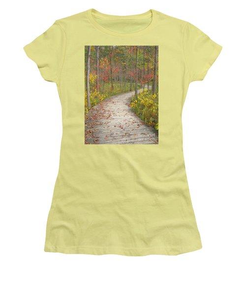 Winding Woods Walk Women's T-Shirt (Junior Cut) by Ann Horn
