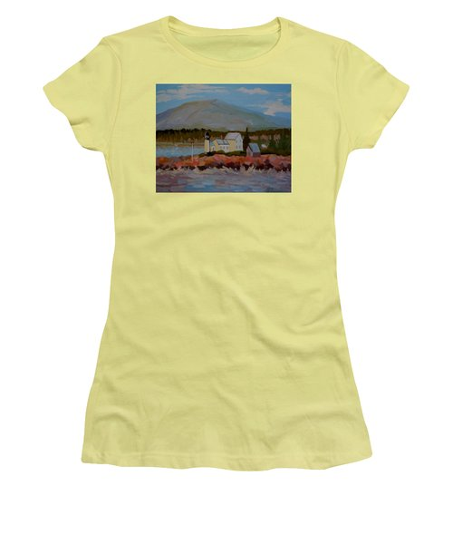 Women's T-Shirt (Junior Cut) featuring the painting Winter Harbor Light by Francine Frank