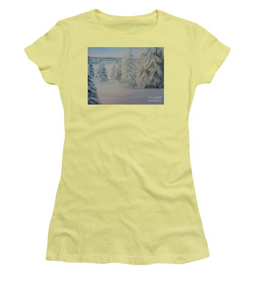 Women's T-Shirt (Junior Cut) featuring the painting Winter In Gyllbergen by Martin Howard