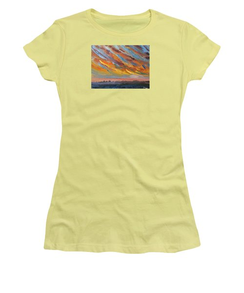 Women's T-Shirt (Junior Cut) featuring the painting Winter Sunrise Over Provincetown by Michael Helfen