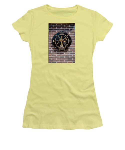 Women's T-Shirt (Junior Cut) featuring the photograph Wisconsin State Firefighters Memorial Park 5 by Susan  McMenamin
