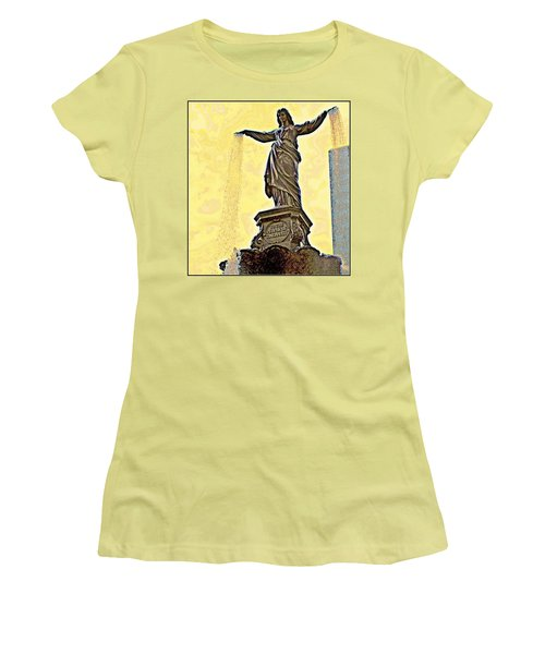 Woman And Flowing Water Sculpture At Fountain Square Women's T-Shirt (Junior Cut) by Kathy Barney