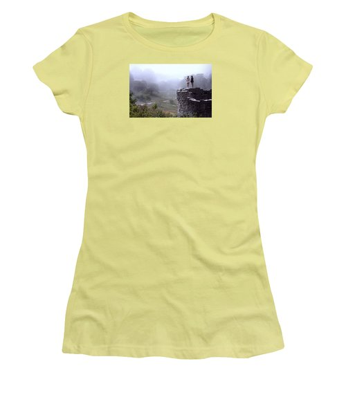 Women Overlooking Bright Foggy Valley Women's T-Shirt (Athletic Fit)