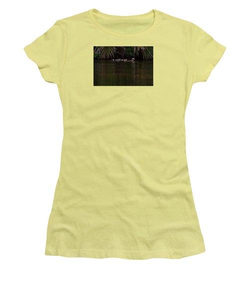 Wood Duck And Ducklings Women's T-Shirt (Junior Cut) by Paul Rebmann
