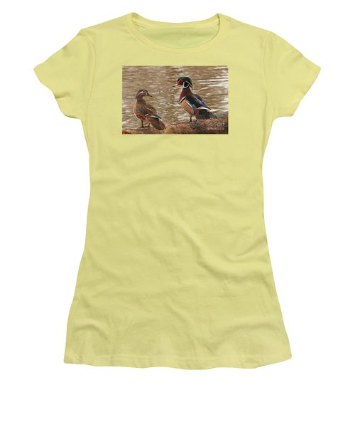 Women's T-Shirt (Junior Cut) featuring the photograph Wood Duck Photo by Luana K Perez