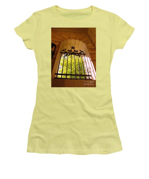 Women's T-Shirt (Junior Cut) featuring the photograph Wrought Iron Arch Window by Becky Lupe
