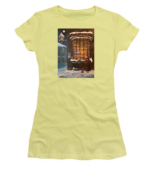Women's T-Shirt (Junior Cut) featuring the painting Ye Old Toy Shoppe by Jean Walker